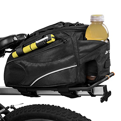 BV Bike Commuter Carrier Trunk Bag with Velcro Pump Attachment, Small Water Bottle Pocket & Shoulder Strap by BV (Image #1)