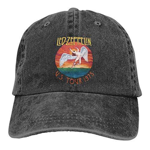 Amerltees U.s. Tour 1975 Rock Led Zeppelin Unisex Vintage Washed Distressed Baseball-Cap Twill Adjustable Dad-Hat Black ()