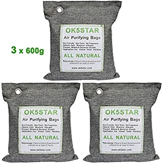 OK5STAR Bamboo Charcoal Bags Air Purifying Bag 3x600g, Breathe Green Charcoal Bags Natural Fresh Bamboo Charcoal Odor Eliminator, Charcoal Deodorizer Bags, Formaldehyde Cigarette Odor Absorber