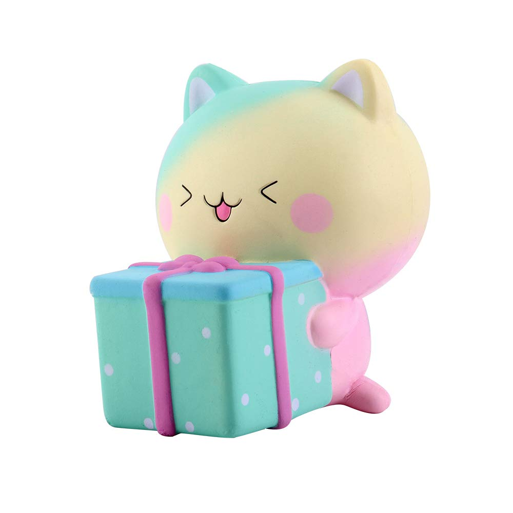 Anboor Squishies Katze Geschenkbox Jumbo Langsam Steigend Squeeze Spielzeug Slow Rising Antistress Squishies Spielzeug für Erwachsene (10,5*13*13cm, 1 Stück) 1 Stück)