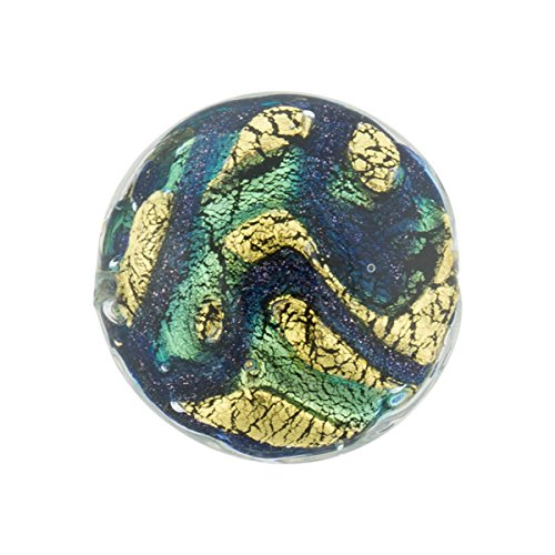 Aqua, Blue Aventurina Gold Foil Galaxy, 20mm Lentil (Disc), Murano Glass
