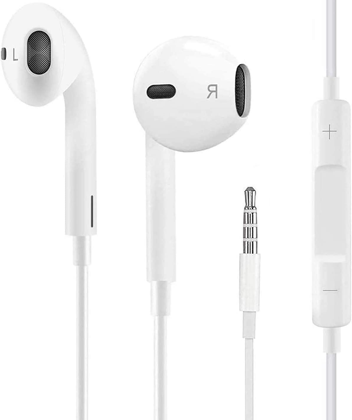 【2 Pack】 Earbuds/Earphones - Wired Headphones, 3.5mm in-Ear Wired Earbuds with Built-in Microphone & Volume Control Compatible with iPhone 6s