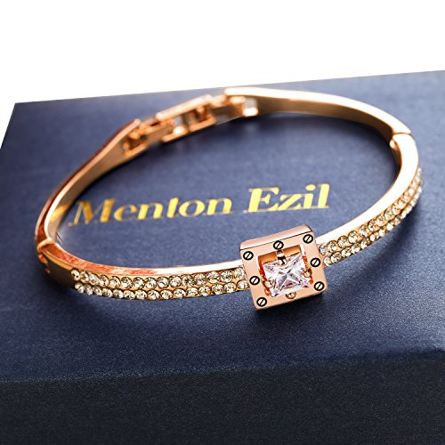 Menton Ezil Princess Crystal Bracelet Rose Gold Luxury Jewelry Adjustable Bangle Bracelets for Womens Girls Wife Anniversary Fashion Collections Loves Design by Menton Ezil (Image #6)