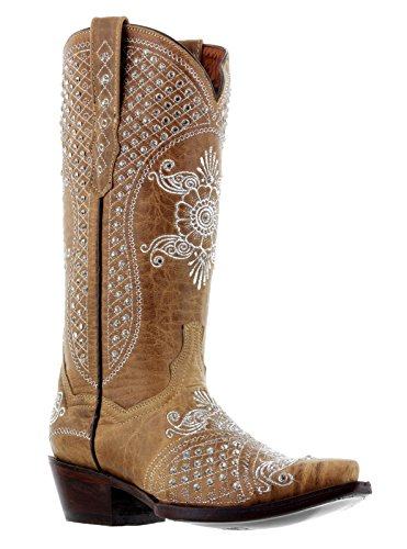 Cowboy Professionele Dames Bruine Marfil Steentjes Bruiloft Cowboylaarzen Knip Zand
