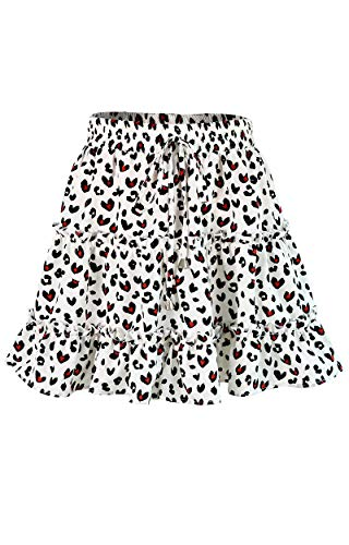SimpleFun Summer Mini Skirts for Junior Ruffle Leopard Print Short Skirts
