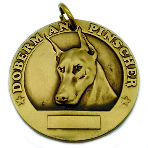 TUOKAY 3D Dog Tags for Dogs Engraved Dog Name Tags, Stainless Steel 3D Effect Dog Name Plate, Bronze 3D Pet ID Tags with High-Relief Image (Doberman Pinscher)