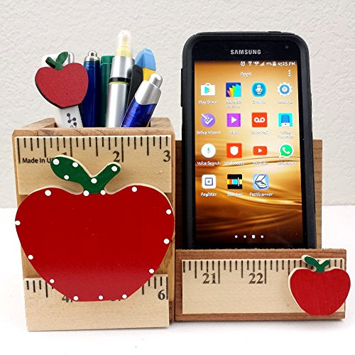 WOODEN CELL PHONE STAND/MEMO - PEN HOLDER, AA-R92 AP - w/APPLE & RULER DESIGN made in USA. TEACHER APPRECIATION GIFT. Accessories are not included unless specified.