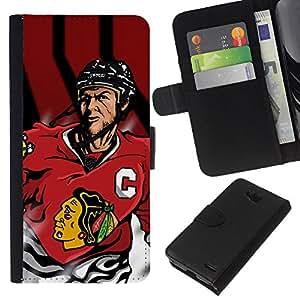 All Phone Most Case / Oferta Especial Cáscara Funda de cuero Monedero Cubierta de proteccion Caso / Wallet Case for LG OPTIMUS L90 // Blackhawk Ice Hockey