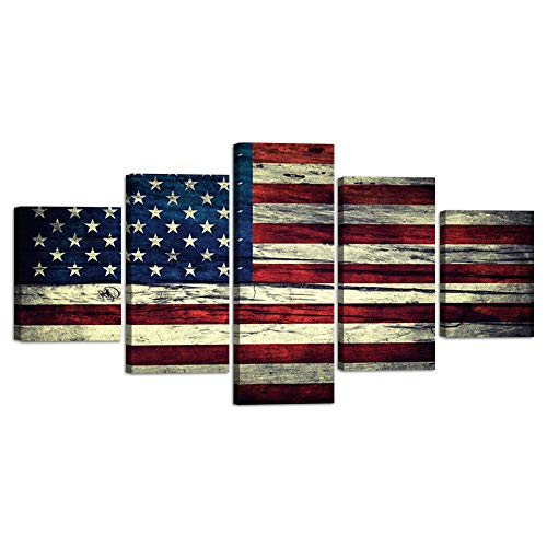 American USA US Flag Vintage Canvas Print Wall Art Retro Style Flag Wall Pictures Home Decor Posters for Bedroom Living Room Office 5 Panel Large Red Line Painting Framed Ready to Hang (60