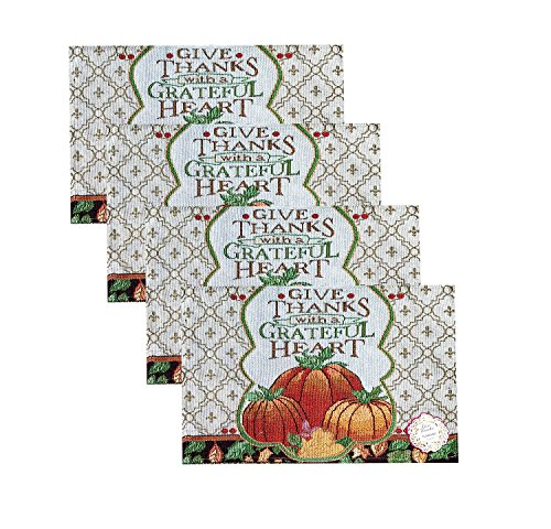 Set of 4 Harvest Give Thanks Thanksgiving Tapestry Placemats 13 x 19 - Give Harvest Thanks