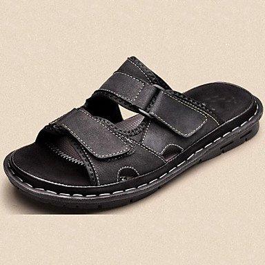 Sandalias de verano zapatos de hombre exterior/Office & Carrera/Trabajo y deber / Athletic / / vestimenta casual zapatillas cuero Nappa Negro/marrón Brown