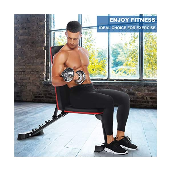 heka Adjustable Abdominal Bench Foldable Weight Bench Multi-Purpose Ab Bench Fitness Equipment Foldable Flat Exercise Chair Workout Multifunctional Training Bench