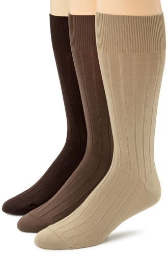 Calvin Klein Men's 3 Pack Cotton Rich Dress Rib Socks, Khaki/Pecan/Chocolate, Sock Size: 10-13/Shoe Size:9-11