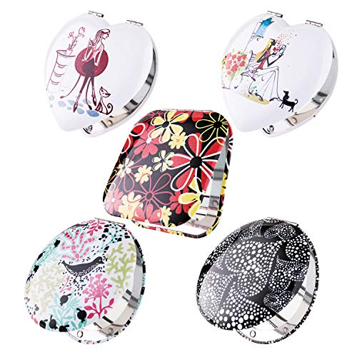 BMC Womens 5 pc Mixed Design Heart Flower Alloy Metal Folding Compact Travel Pocket Beauty Makeup Mirror Set
