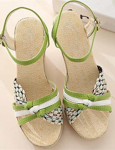 Shangyi Da Donna Zeppa Verde Sandali Blu Con Aperti Scarpe Beige RRwrqxf