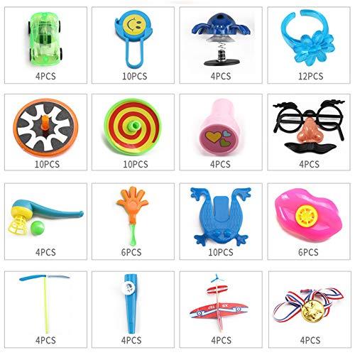 Pinata Birthday - 100 Pcs Goodie Bag Festive Party School Reward Boys Girls Home Birthday Toys Carnival Prizes Kids - Glasses Mermaid Notebooks League Dinosaur Erasers Gumball Pads Balls I ()