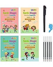 4 قطع كتاب تمارين سحري للأطفال من Sank - كتاب أنشطة الطباعة اليدوية - كتاب ممارسة الكتابة قابل لإعادة الاستخدام (كتاب الحروف الأبجدية مع قلم)