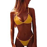 CheChury Bikini Mujer Conjuntos Brasileño Sexy Tanga Mujer Playa Ropa de Baño Traje de Baño Sexy Bañador de Baño Tops y…