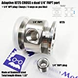 """Vacuum Adaptive Cross Both Ends KF25 Flange and Double Middle 1/4"""" FNPT Port, End to end Length 40 mm"""