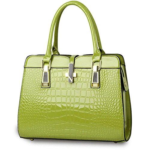 qckj Fashion Cruz Cuerpo Bolsa De Hombro Estilo Europeo Mujeres PU Patrón de cocodrilo bolso de mano verde