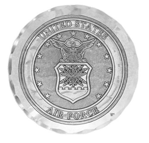 Wendell August US Air Force Coaster, Hand-hammered Aluminum, Keeps Tabletops Safe, 4.5 Inch Round - Air Coaster Force
