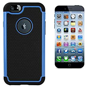 """Heavy Duty Hybrid Hard Rugged Dual layer Impact Shockproof Case Cover for Apple iPhone 6 Plus 5.5"""" (Blue)"""