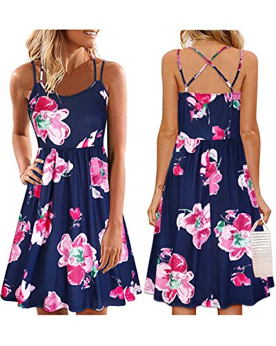 ULTRANICE Women's Summer Floral Sleeveless Adjustable Spaghetti Backless Short Dress(Floral08,L)