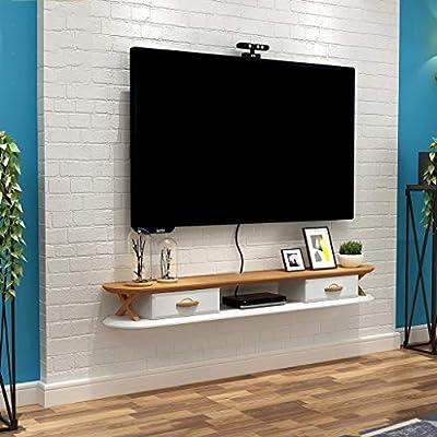 TLMY TV Rack Cabinet Cabinet Media Entertainment Consola Flotante Juego de estantería con 2 Muebles de cajones Mueble para TV de Pared (Color : White+Brown, Size : 120cm): Amazon.es: Hogar