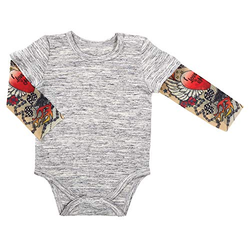 Stephan Baby Snapshirt-Style Diaper Cover with Tattoo Sleeves, Gray, 6-12 Months