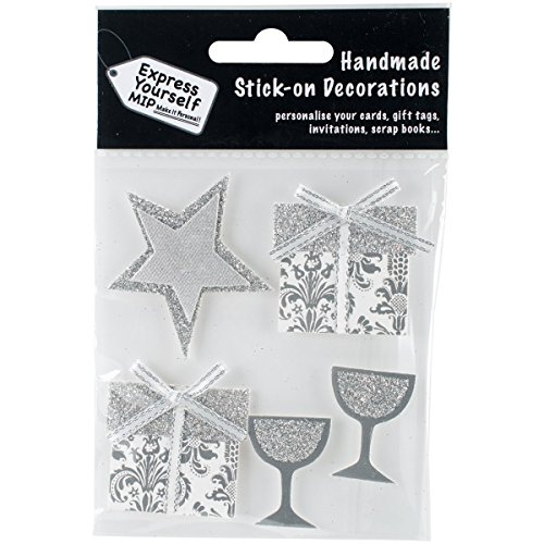 Express Yourself MIP DIYT149 Mip 3-D Stickers 3D Stickers-Silver Stars, Gifts & Glasses