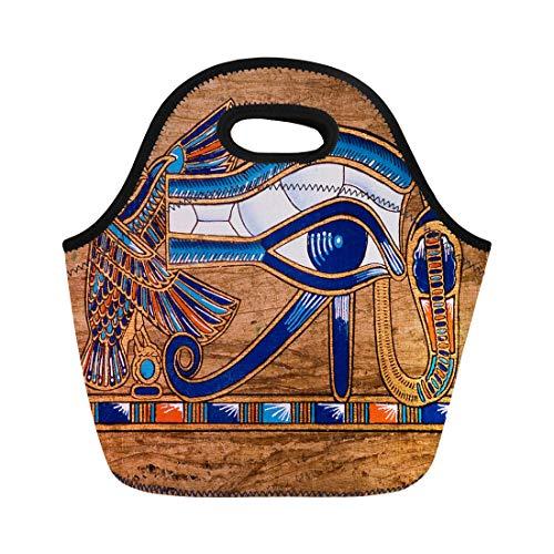 [해외]호 루스 아이 상형 문자 파라오를 묘사 하는 semtomn 네오프렌 점심 토트 백 이집트 이집트 파피루스 재사용 쿨러 가방 보 온을 위한 열 피크닉 핸드백 / Semtomn Neoprene Lunch Tote Bag Egypt Egyptian Papyrus Depicting the Horus Eye Hierogly...