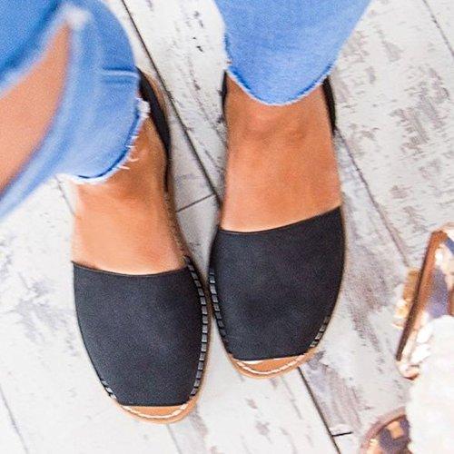 Eleganti Nero Tacco Casuale Confortevoli Basso Espadrillas Piatto Peep Toe Sandals Donna Sandali Minetom Tacco Dolce Scarpe Estivi Spiaggia EqTxC