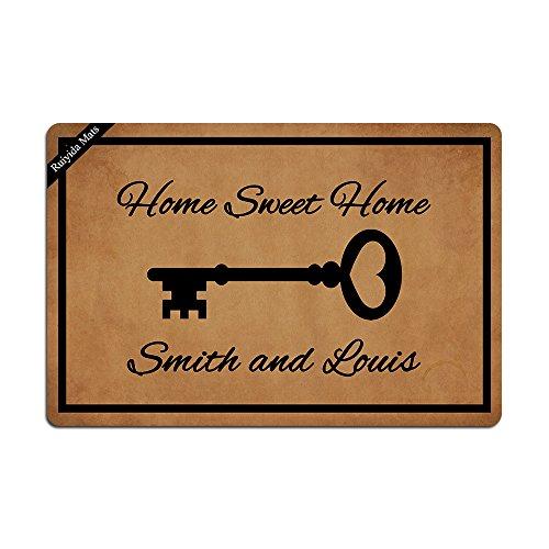 - Ruiyida Old Vintage Key With Personalized Name Entrance Floor Mat Funny Doormat Door Mat Decorative Indoor Outdoor Doormat Non-woven 23.6 By 15.7 Inch Machine Washable Fabric Top
