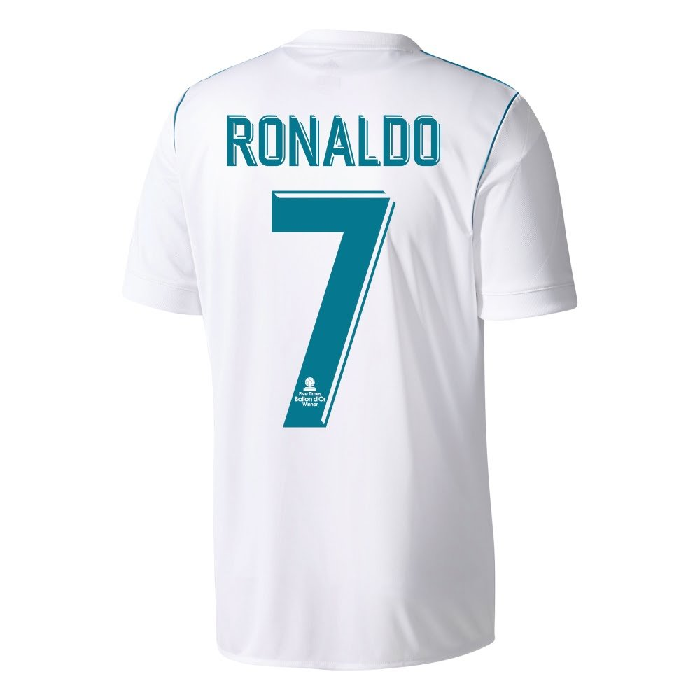 17a10692dec Amazon.com   adidas Real Madrid Home Ronaldo Jersey 2017 2018 + 5X Ballon  d Or Winner Transfer (Unofficial Commemorative Ronaldo Printing)   Sports    ...