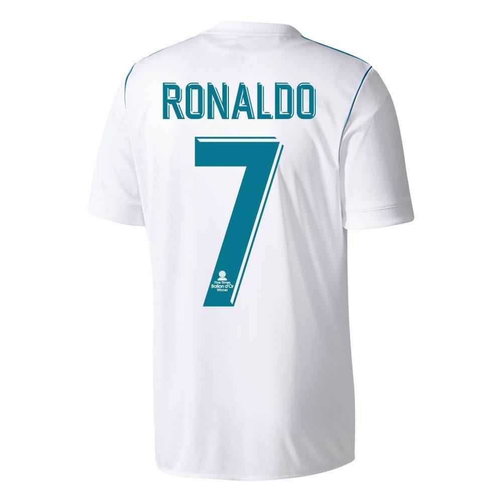 Real Madrid Home Trikot 2017 2018 + Ronaldo 7 (5x Ballon d'Or Beflockung) - L
