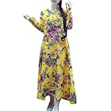 AMSKY Men Dress Shoes,Plus Size Womens Cotton and Linen Loose Long Sleeve Flower Print Long Dress,Wedding Dresses,Yellow,XXL