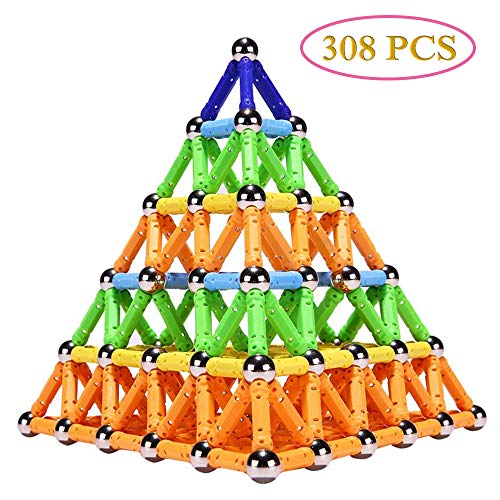 308 Pieces Magnetic Building Blocks Toys, Magnet Construction Build Kit Education Toys 3D Puzzle for Kids, Playing Stacking Game with Magnetic Bricks and Sticks, Color Random