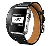 Watch Band for Apple – Double Tour/Wrap Genuine Leather Replacement Strap, with Stainless Steel Buckle Closure, Leisure, Wrist Band for iWatch Series – Unisex – Black - 38mm by Spartan Watch Co.
