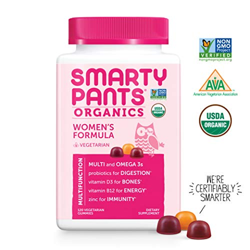 SmartyPants Organic Women's Formula Daily Gummy Vitamins: Probiotic, Vitamin D3, Vitamin B12, Gluten Free, Zinc, Methylfolate, Omega-3, Methylcobalamin, Vegetarian, Non-GMO, 120 Count (30 Day Supply)
