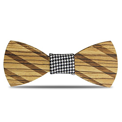 YFWOOD Bow Ties for Men, Handmade Customized Solid Wood Bow Tie Creative Wedding Wooden Bowtie with Box, Zebra Wood