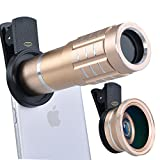 Top Quality HD 12X Telephoto Lens Telescope & 0.45X Wide Angle & Macro Lens for iPhone 7/6S, S7 and more(Gold)