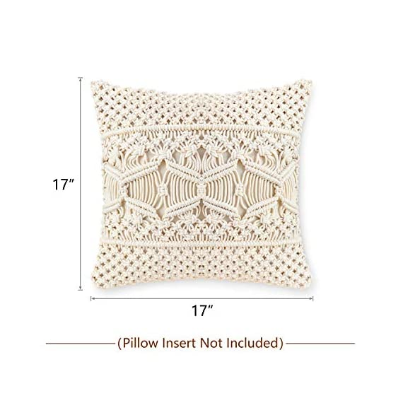 Mkono Throw Pillow Cover Macrame Cushion Case (Pillow Inserts Not Included) Set of 2 Decorative Pillowcase for Bed Sofa Couch Bench Car Boho Home Decor,17 Inches - This macrame throw pillow cover has various usage as pillow indoor and outdoor, bolster for any body part, sleeping, watching TV, in-bed readingand. Perfect for decorating your room in a simple and fashion way. Suitable for living room, bed room, office, cafe, ect, and add a touch of graceful color to your home or any other place. Material: Cotton and fabric, Gorgeous, durable and eco friendly decor. Please notes that pillow inserts and other props are not included! Unique design adds texture and interest to any home decor.This knit pillow cover make a boho vibe on sofa, couch, bench, bed or car. - living-room-soft-furnishings, living-room, decorative-pillows - 51 nCt3LYRL. SS570  -