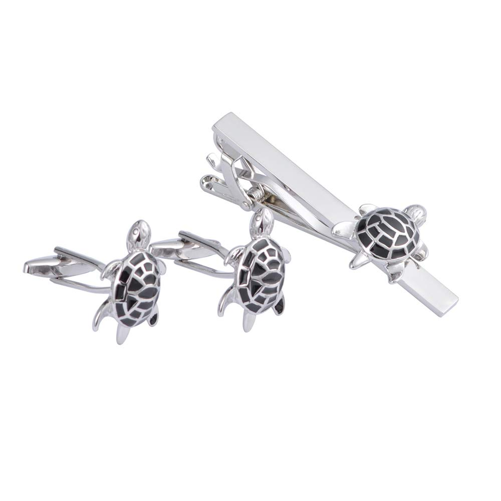 BS-Cilps-6 Set de Gemelos Fun Green Black Turtle Gemelos Tie Clip ...