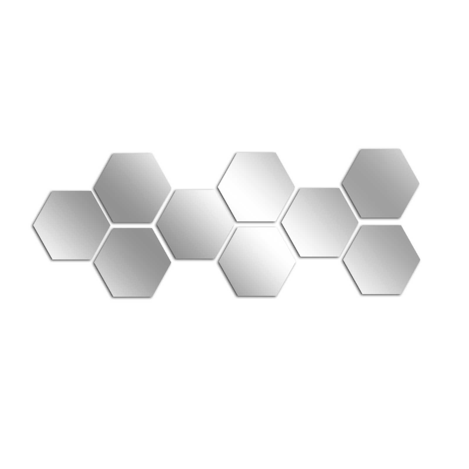 Decorative Removable Wall Sticker Mirror PLEXIGLASS (20.5'' x 7.9'') Number of Pieces 9 / Glass Modern Art Pattern Ornamental Design Beehive / Background Decoration Perfect Design For Home, Office, Room by LaModaHome (Image #3)