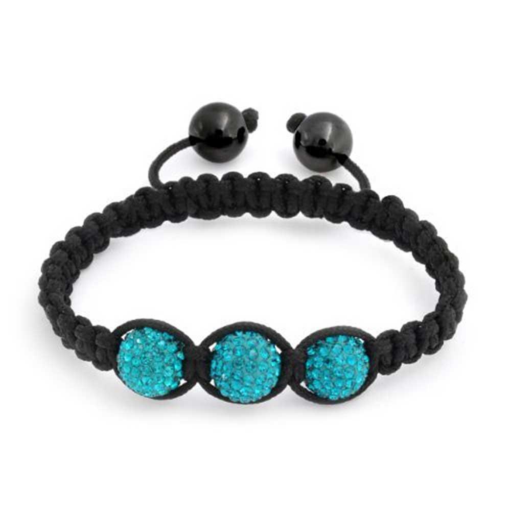 Kids Shamballa Inspired Bracelet 10 mm Blue Crystal Beads Adjustable Nylon Cord 6 Inch Bling Jewelry CB-BR13986