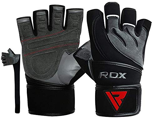 RDX Weight Lifting Gloves Leather Cowhide Gym Workout Powerlifting Fitness Bodybuilding 50 cm Long Wrist Breathable Strength Training Exercise