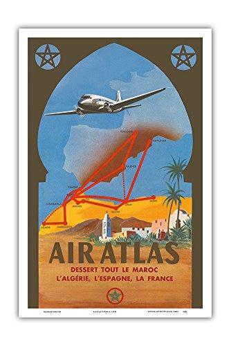 Air Atlas   Dessert Tout Le Maroc  L Algerie  L Espagne  La France  Services All Of Morocco  Algeria  Spain  France    Vintage Airline Travel Poster By Renluc C 1950   Master Art Print   12In X 18In