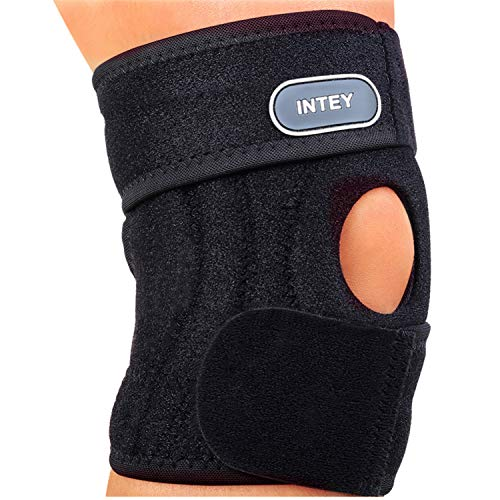 INTEY Knee Brace Support, Open-Patella Stabilizer with Adjustable Strap, for Arthritis Meniscus Pain Relief, Daily Exercise, Men & Women