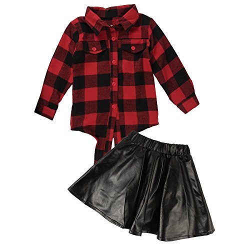 2pcs Toddler Kids Baby Girls Plaid Shirtand Leather Skirt Dress Outfits Clothes Set (4-5T), Red and black, 110cm Plaid Dress Set