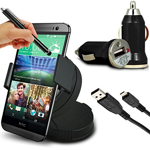 Fone-Case HTC One M8S Case Brand New Luxury - CAR DRIVERS SUPER SAVER ESSENTIALS ACCESSORY PACK - Unisuction 360 In-Car Windscreen Suction Car Mount Holder, Black High Capacitive Touch screen Stylus Pen, Black In Car Bullet USB Charger Adaptor, Black Micro USB Data Cable
